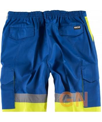 Pantalón bicolor alta visibilidad azulina/amarillo A.V.