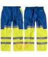Pantalón bicolor con refuerzos en alta visibilidad azulina/amarillo flúor