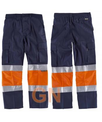 Pantalón de algodón bicolor de alta visibilidad marino/naranja A.V.