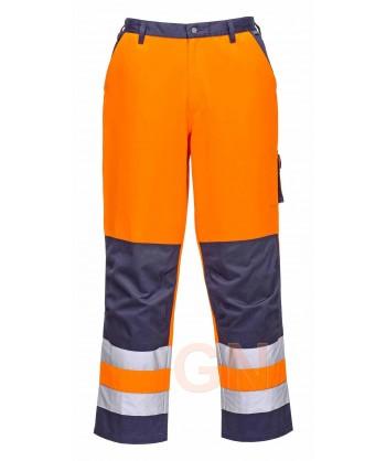 Pantalón bicolor con tejido antimanchas naranja alta visibilidad / marino