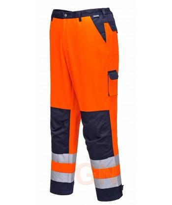 Pantalón bicolor con tejido antimanchas naranja alta visibilidad y marino Portwest TX51