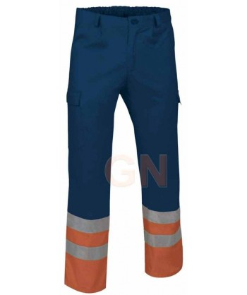 Pantalón multibolsillos alta visibilidad marino/naranja A.V.