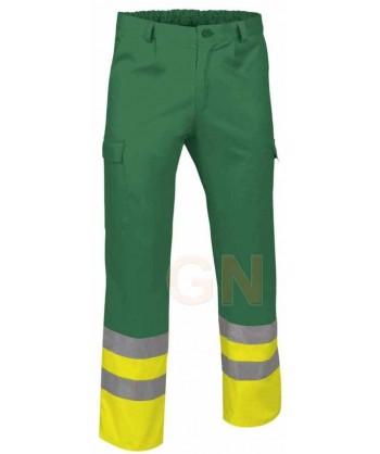 Pantalón multibolsillos alta visibilidad verde /amarillo A.V.