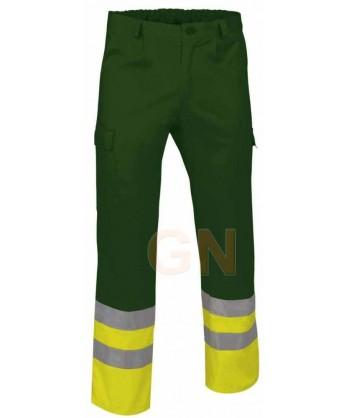 Pantalón multibolsillos alta visibilidad verde botella/amarillo A.V.