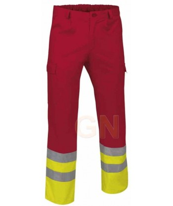 Pantalón multibolsillos alta visibilidad rojo/amarillo A.V.
