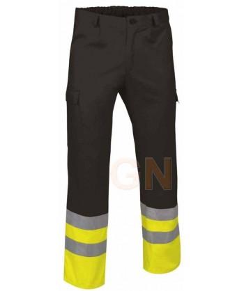 Pantalón multibolsillos alta visibilidad negro/amarillo A.V.