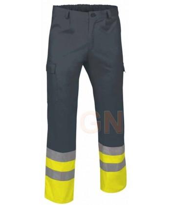 Pantalón multibolsillos alta visibilidad gris oscuro/amarillo A.V.