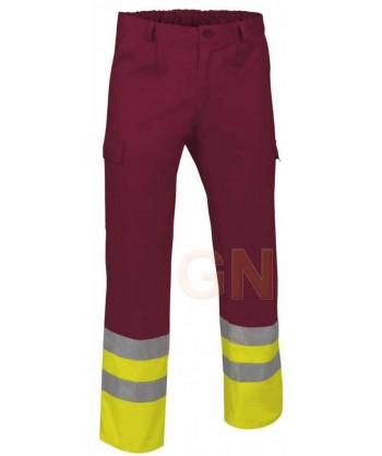 Pantalón multibolsillos alta visibilidad granate/amarillo A.V.