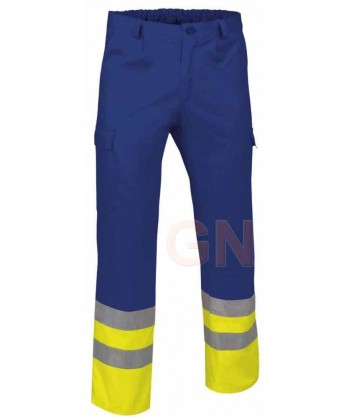 Pantalón multibolsillos alta visibilidad azulina/amarillo A.V.