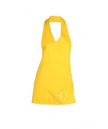 Delantal corto, con peto. Color amarillo