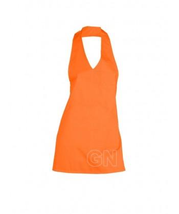 Delantal corto, con peto. Color naranja