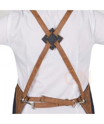 Delantal de tela vaquera con peto y con bolsillo
