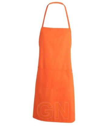 Delantal económico, con peto color naranja