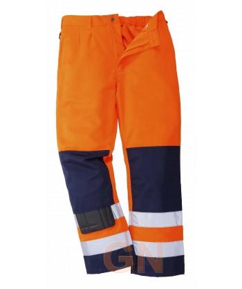 Pantalón bicolor marino y naranja alta visibilidad Portwest TX71