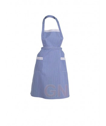 Delantal vichy a cuadritos azulina con peto y bolsillos