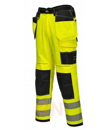 Pantalón alta visibilidad bicolor triples costuras y refuerzos en rodillas amarillo A.V./negro
