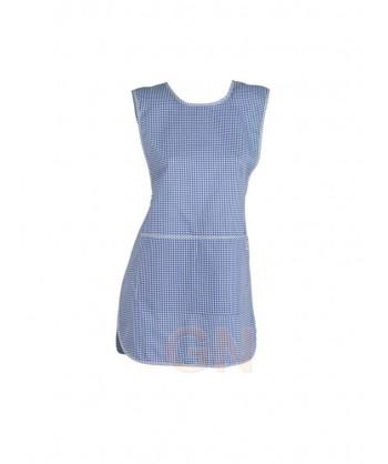 Casulla con bolsillos de vichy cuadritos color azulina
