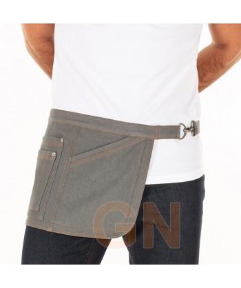 Delantal corto lateral de tela vaquera con cuatro bolsillos color gris marengo