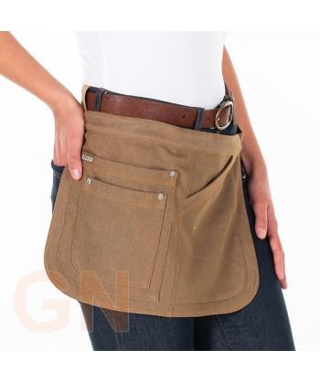 Delantal corto lateral de tela vaquera con cuatro bolsillos color arena