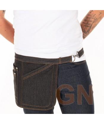Delantal corto lateral de tela vaquera con cuatro bolsillos color negro