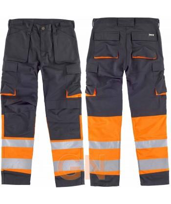 Pantalón bicolor y multibolsillos en color negro y naranja alta visibilidad