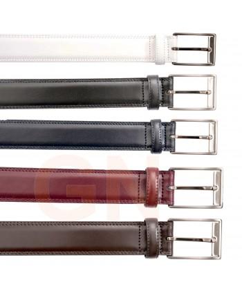 Cinturón de piel de doble costura