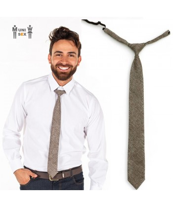 Corbata de arpillera para hostelería color marrón