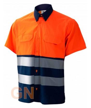 Camisa manga corta, bicolor en alta visibilidad marino/naranja fluor