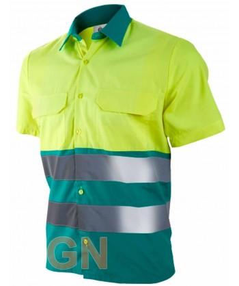 Camisa manga corta, bicolor en alta visibilidad verde claro/amarillo fluor