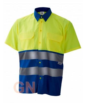 Camisa manga corta, bicolor en alta visibilidad azulina/amarillo fluor