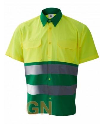 Camisa manga corta, bicolor en alta visibilidad verde/amarillo fluor