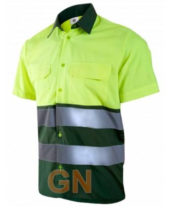 Camisa manga corta, bicolor en alta visibilidad verde oscuro/amarillo fluor