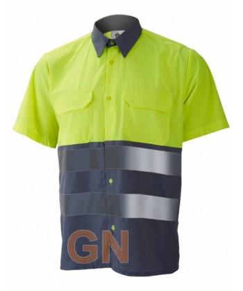 Camisa manga corta, bicolor en alta visibilidad gris/amarillo fluor
