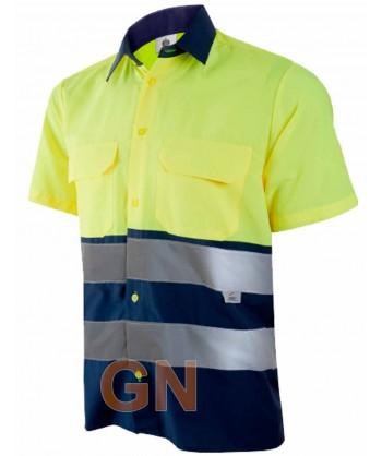 Camisa manga corta, bicolor en alta visibilidad marino/amarillo fluor