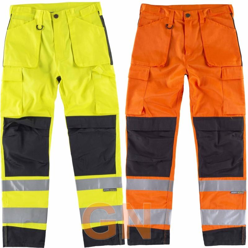 Pantalón bicolor amarillo y naranja alta visibilidad con negro