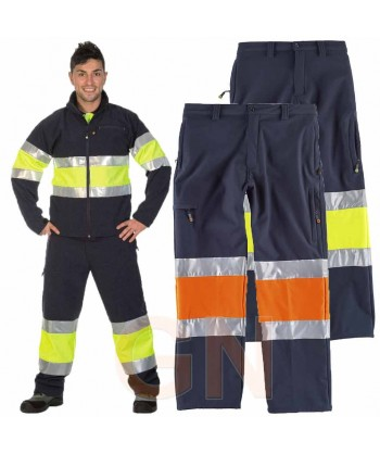 Pantalón softshell multibolsillos bicolor alta visibilidad