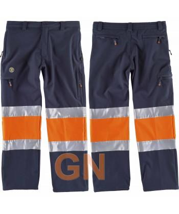 Pantalón softshell multibolsillos bicolor alta visibilidad naranja flúor y marino
