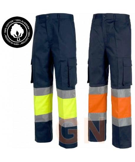 Pantalón de algodón bicolor de alta visibilidad