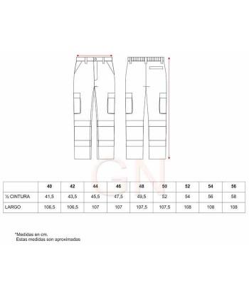 Pantalón multibolsillos marino/rojo alta visibilidad