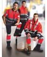 Pantalón alta visibilidad multibolsillos marino/rojo flúor