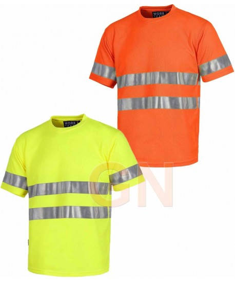 Camiseta alta visibilidad clase 2 de manga corta y transpirable