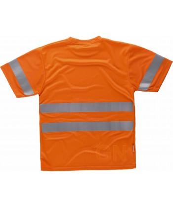 Camiseta alta visibilidad clase 2 de manga corta y transpirable naranja flúor