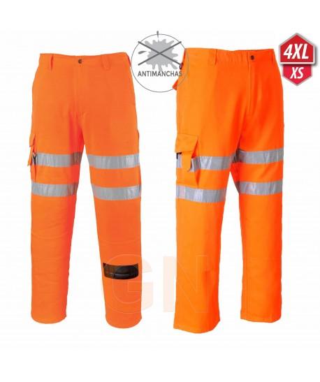 Pantalón monocolor naranja de alta visibilidad. Portwest RT46