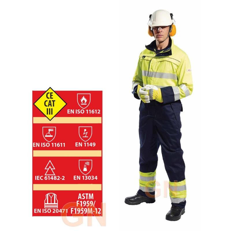 Buzo alta visibilidad, antiestático, ignífugo, anti arco eléctrico, protección química