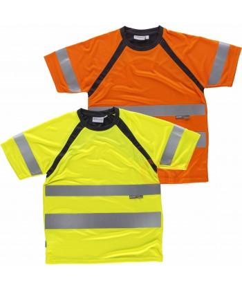 Camiseta bicolor alta visibilidad transpirable color amarillo flúor y naranja flúor con negro