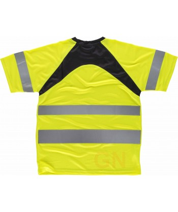 Camiseta bicolor alta visibilidad transpirable amarillo/negro