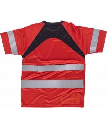 Camiseta bicolor transpirable en color roja y negra con cintas reflectantes