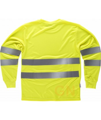 Camiseta de alta viabilidad transpirable de manga larga amarillo flúor