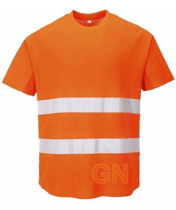 Camiseta bicapa manga corta transpirable naranja alta visibilidad