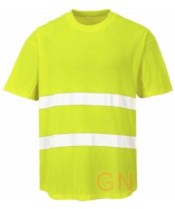 Camiseta bicapa manga corta transpirable amarillo alta visibilidad